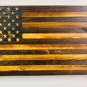 Handmade Natural Finish Wooden American Flag 18.5X9.75X1.5 Inches  Indoor/Outdoor Patriotic Wall Art