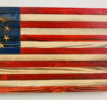 Load image into Gallery viewer, Handmade Small Wooden 3 Percent American Flag, Red, White and Blue Indoor/Outdoor Patriotic Wall Art