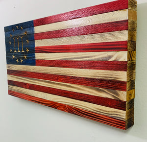 Handmade Small Wooden 3 Percent American Flag, Red, White and Blue Indoor/Outdoor Patriotic Wall Art