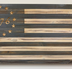Betsy Ross 1776 Large Grey and White Handmade American Flag with 13 Carved Stars, Hand Stained and Torched Patriotic Indoor/Outdoor Wall Art