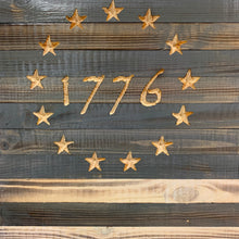 Load image into Gallery viewer, Betsy Ross 1776 Large Grey and White Handmade American Flag with 13 Carved Stars, Hand Stained and Torched Patriotic Indoor/Outdoor Wall Art