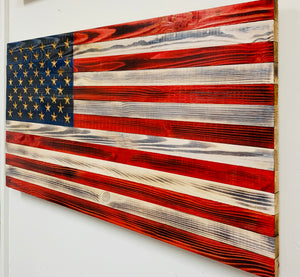 Handmade Wooden American Flag, Red, White and Blue with Carved 50 Star Union Indoor/Outdoor Patriotic Wall Art