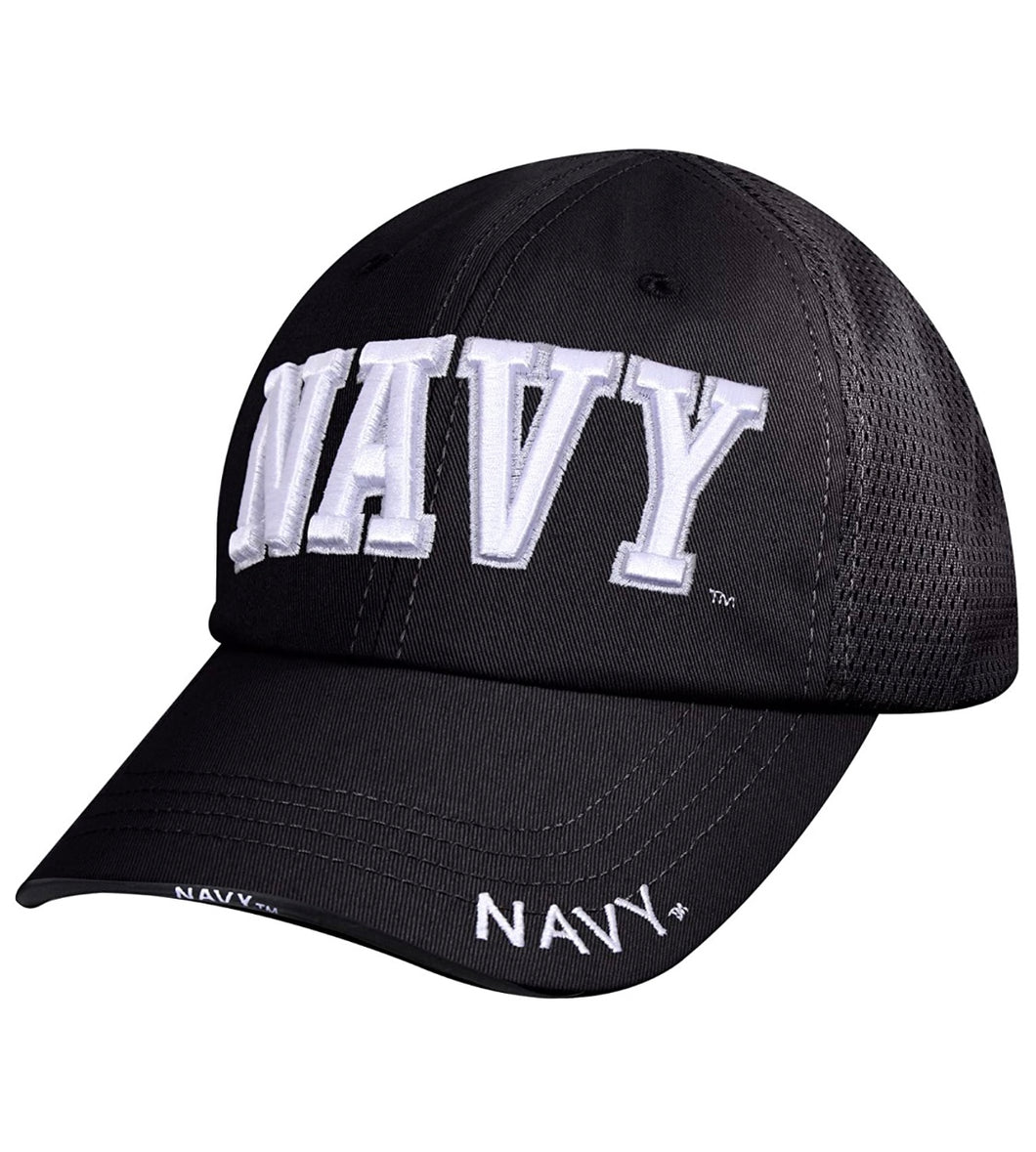 Navy Mesh Back Tactical Cap Black with White Lettering One Size Fits All