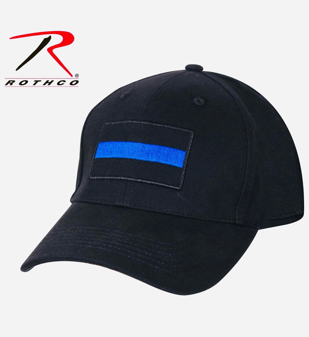 Thin Blue Line Low Profile Cap, Black with Thin Blue Stripe, One Size Fits All