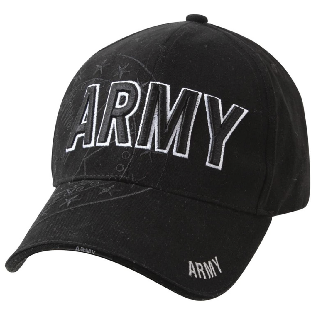 Deluxe Low Pro Shadow Cap / Army Eagle Black with Embroidered White Lettering One Size Fits All