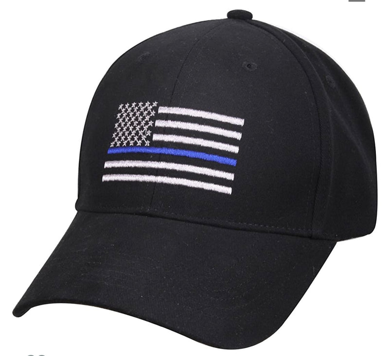 Thin Blue Line Flag Low Profile Cap Black with Grey and Blue Line Embroidered Flag