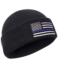 Load image into Gallery viewer, Thin Blue Line Deluxe Embroidered Watch Cap Black with Grey and Blue Flag, One Size Fits All Support Police Officers Cap