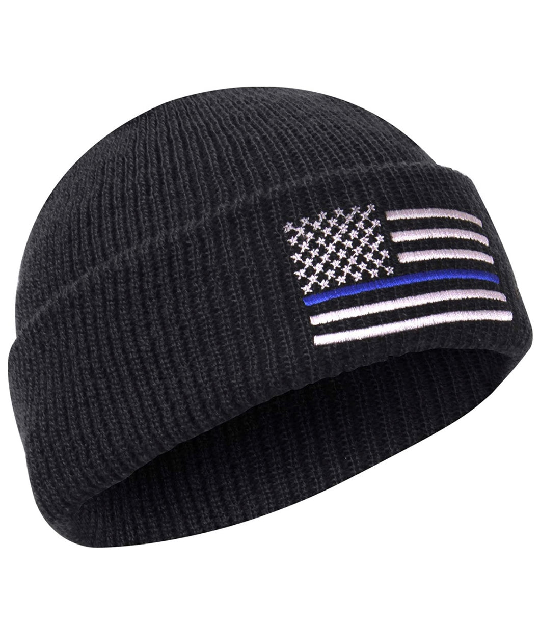 Thin Blue Line Deluxe Embroidered Watch Cap Black with Grey and Blue Flag, One Size Fits All Support Police Officers Cap