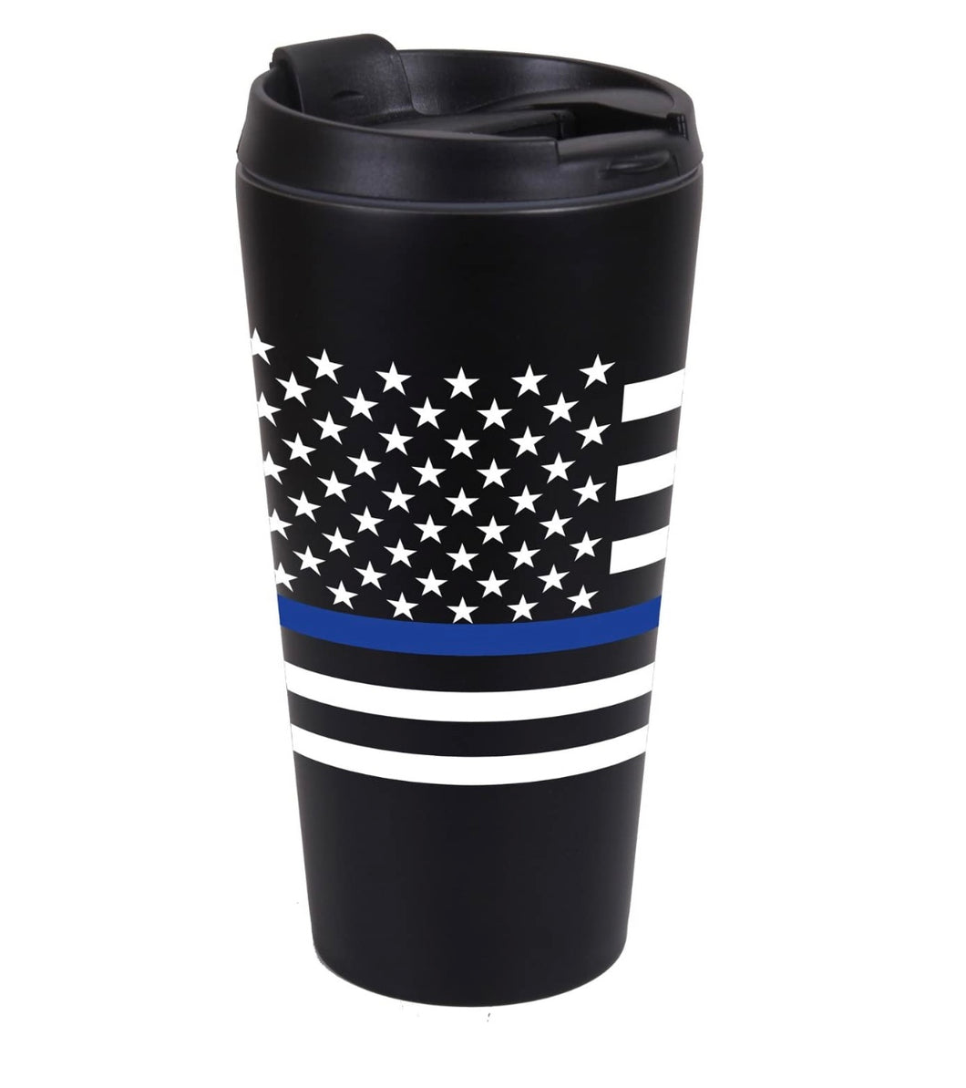 Thin Blue Line Flag 16 OZ  Double Wall Insulated Stainless Steel Travel Mug