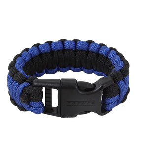 "Thin Blue Line Paracord 8"" Bracelet to Honor Police Officer and Law Enforcement Royal Blue and Black"