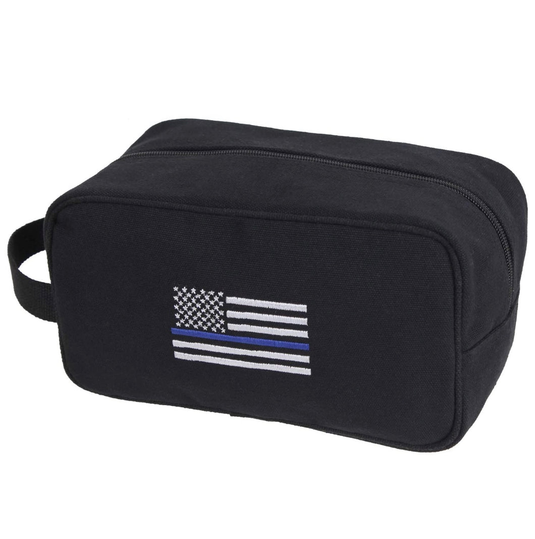 Thin Blue Line Canvas Travel Carry Kit Black with Embroidered Thin Blue Line Flag