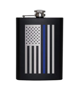 Stainless Steel Thin Blue Line Flag 8oz Hip Flask