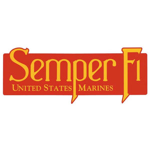 "United States Marine Corps Semper Fi Bumper Sticker Red and Yellow 10"" x 4"""