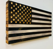 Load image into Gallery viewer, Black and White Handcrafted Premium Wooden American Flag Indoor Outdoor Wall Hanging
