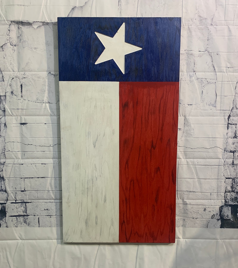 State or Texas Large Handmade Wooden Flag for Vertical Hanging