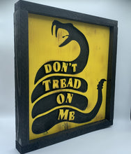 Load image into Gallery viewer, Don't Tread On Me Rustic Framed Handmade Wooden Patriotic Sign