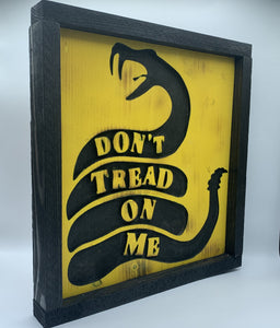 Don't Tread On Me Rustic Framed Handmade Wooden Patriotic Sign