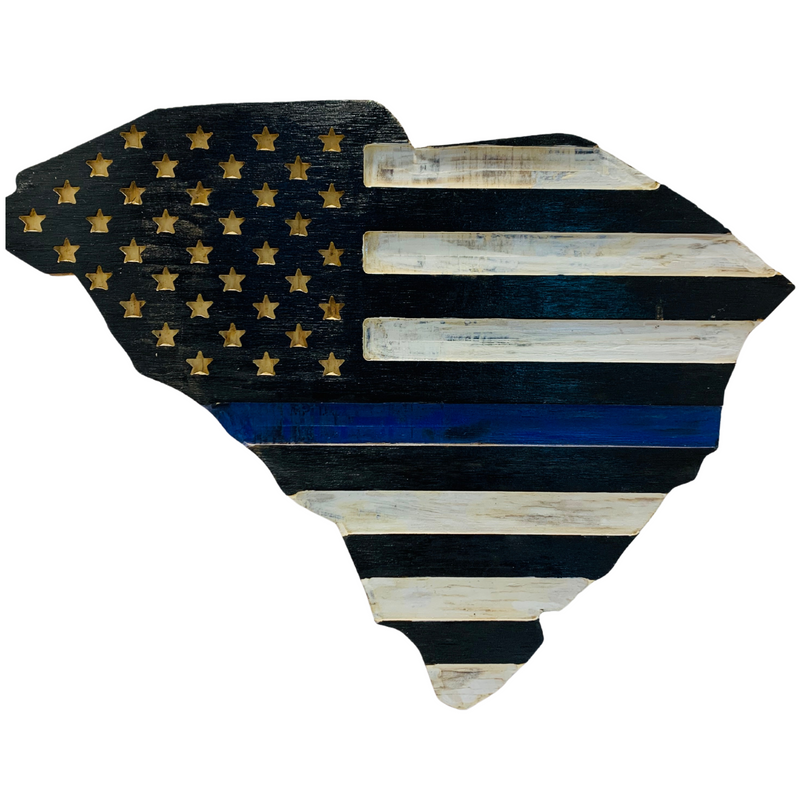 State of South Carolina Thin Blue Line Handmade Wooden Flag Indoor Outdoor Patriotic Wall Art