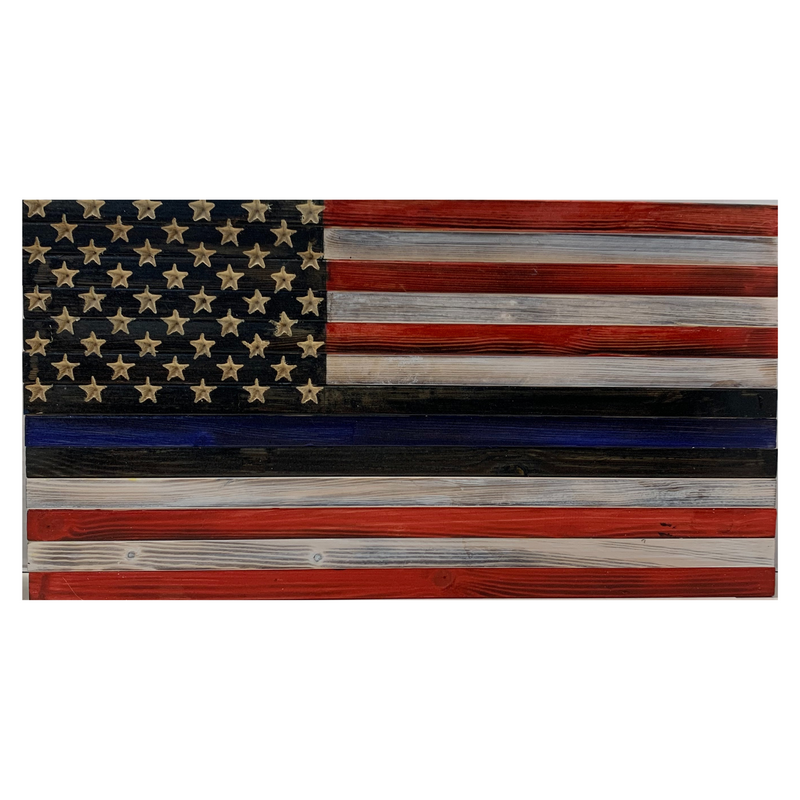 Handmade Thin Blue Line Flag with Alternating Red and White Stripes