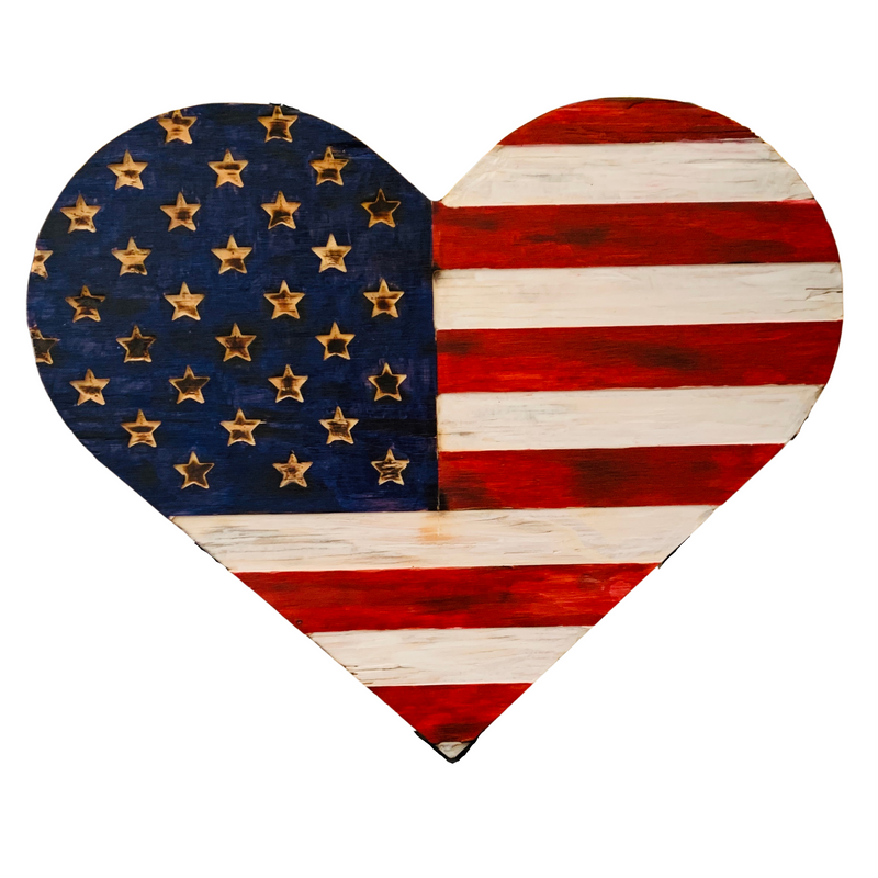 Wooden Heart American Flag, Torched with carved union, Hanging Heart Wall Art, Rustic Flag