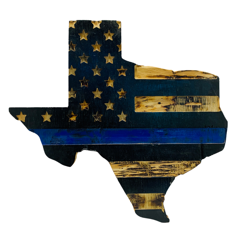 State of Texas Handmade Rustic Thin Blue Line Flag Indoor Outdoor Wall Art