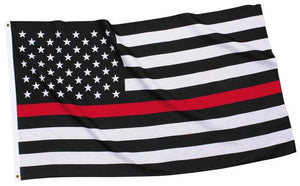 Support First Responders Red Line Flag