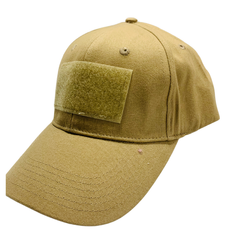 Tactical Khaki Ball Cap Style Hat with Moral Patch Velcro Area