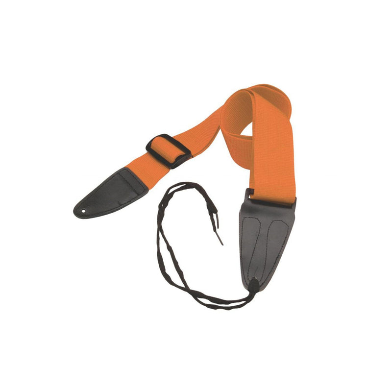 On-stage Guitar Strap With Leather Ends In Orange