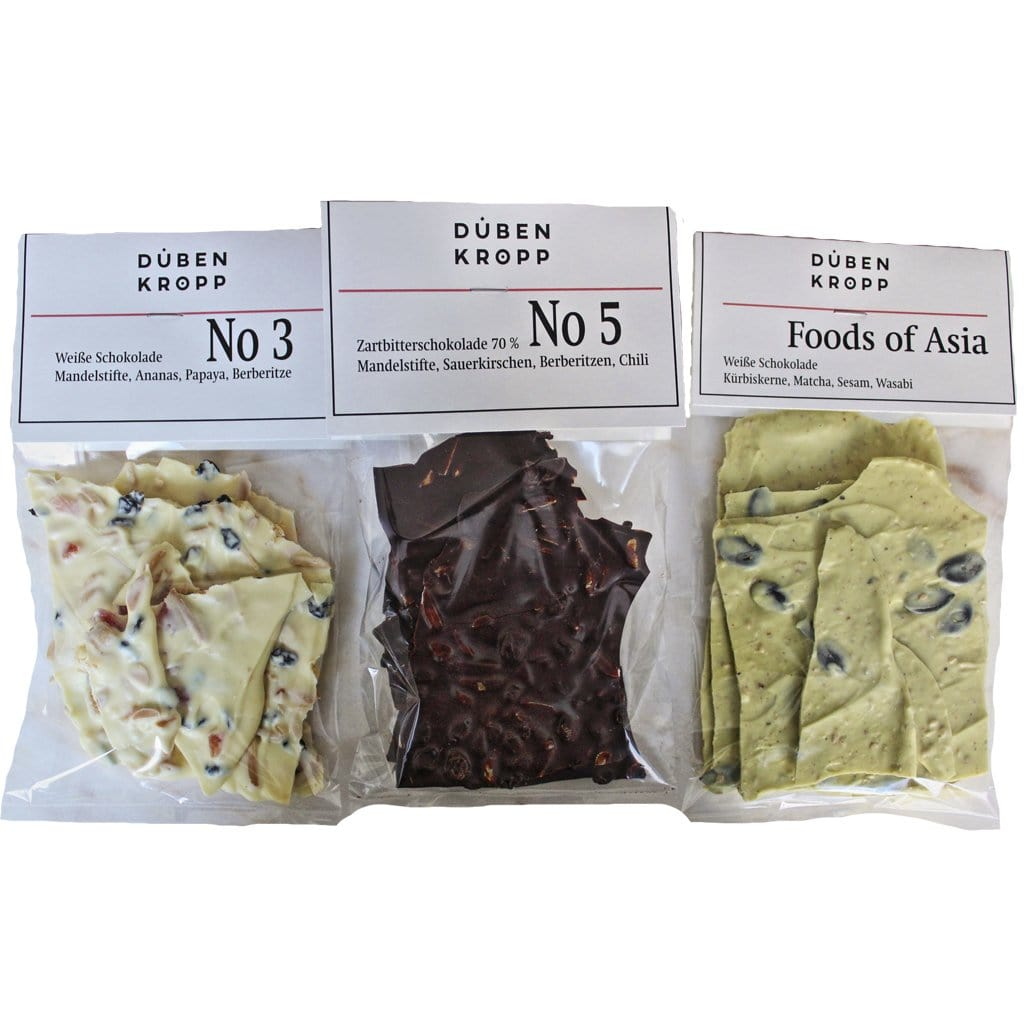 "3 x Gourmet Schokoladen <p style=""font-size:15px;"">Berliner + Jungle + Foods of Asia</p> - DUBENKROPP"