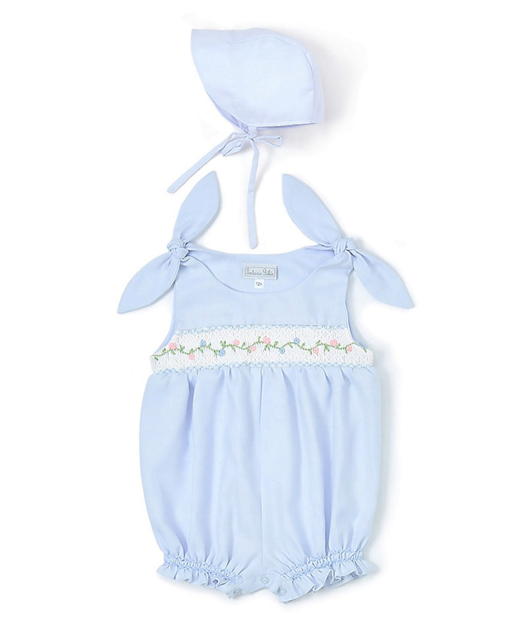 Beautiful Blue Smocked Bubble and Bonnet