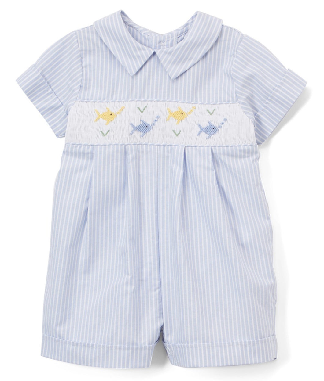 Here Fishy Fishy Blue Fish Smocked Romper