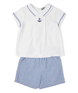 Avery's Anchors Away Embroidered Polo & Shorts