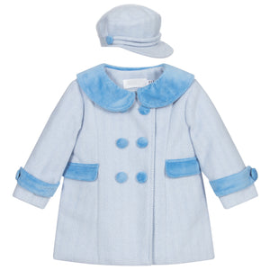 Baby Boy Blue Herringbone Coat and Hat Set