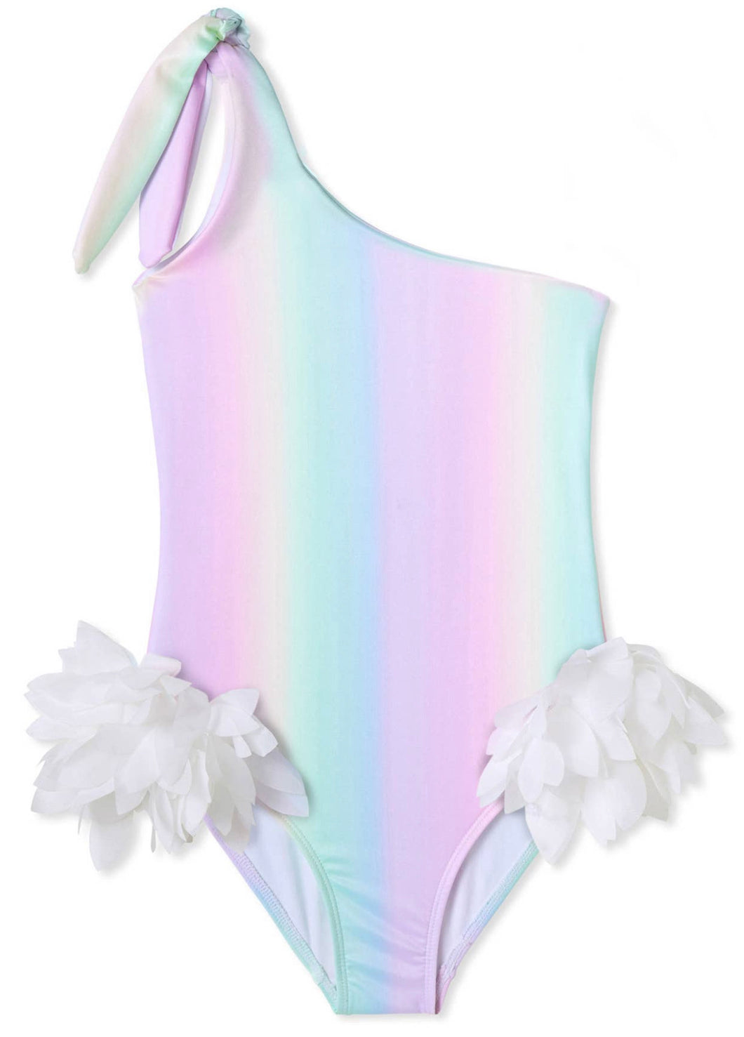 Somewhere Over the Rainbow Petal Off the Shoulder Bathing Suit