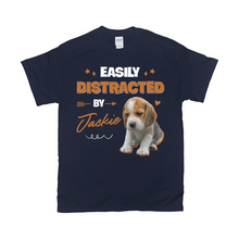 Load image into Gallery viewer, Easily Distracted By My Pet Custom Pet Unisex T-shirt - Noble Pawtrait