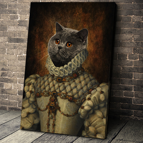Queen Elizabeth Custom Pet Portrait Canvas - Noble Pawtrait