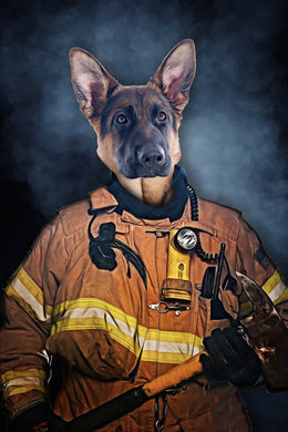 The Firefighter Custom Pet Portrait Digital Download - Noble Pawtrait
