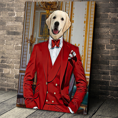 The Red Suit Custom Pet Portrait - Noble Pawtrait