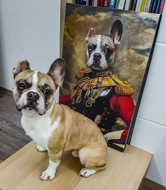 The Colonel Custom Pet Portrait Canvas - Noble Pawtrait