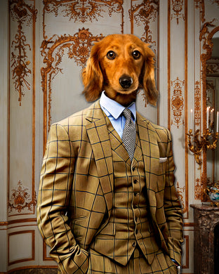 The Brown Suit Custom Pet Portrait Digital Download - Noble Pawtrait