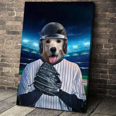 The Baseball Player Custom Pet Portrait - Noble Pawtrait