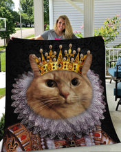 Load image into Gallery viewer, The Monarch Custom Pet Blanket - Noble Pawtrait