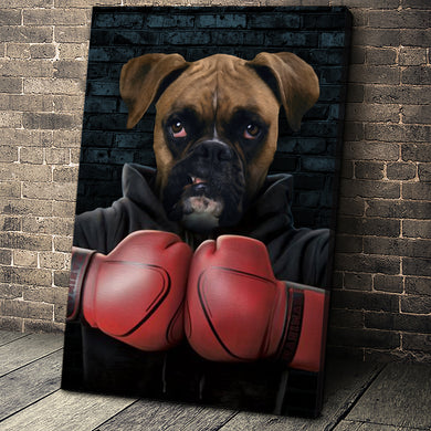 The Boxer Custom Canvas Pet Portrait - Noble Pawtrait