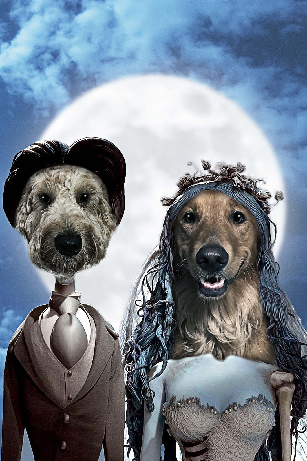 The Bride & Groom Custom Pet Portrait Digital Download - Noble Pawtrait