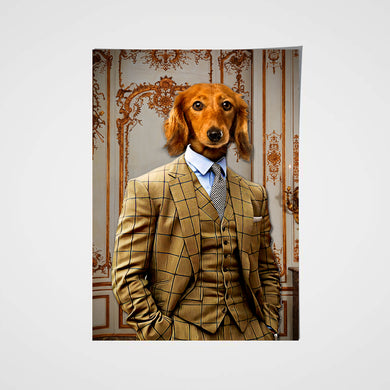 The Brown Suit Custom Pet Portrait Poster - Noble Pawtrait