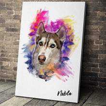 Load image into Gallery viewer, Watercolor Portrait Custom Pet Portrait Canvas - Noble Pawtrait
