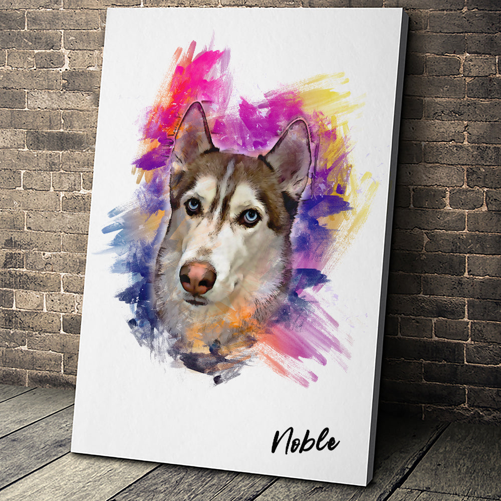 Watercolor Portrait Custom Pet Portrait Canvas - Noble Pawtrait