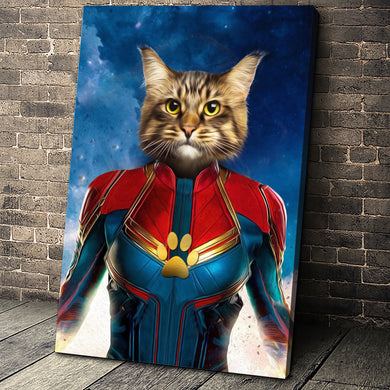 The Wonder Captain Paw Custom Pet Portrait Canvas - Noble Pawtrait