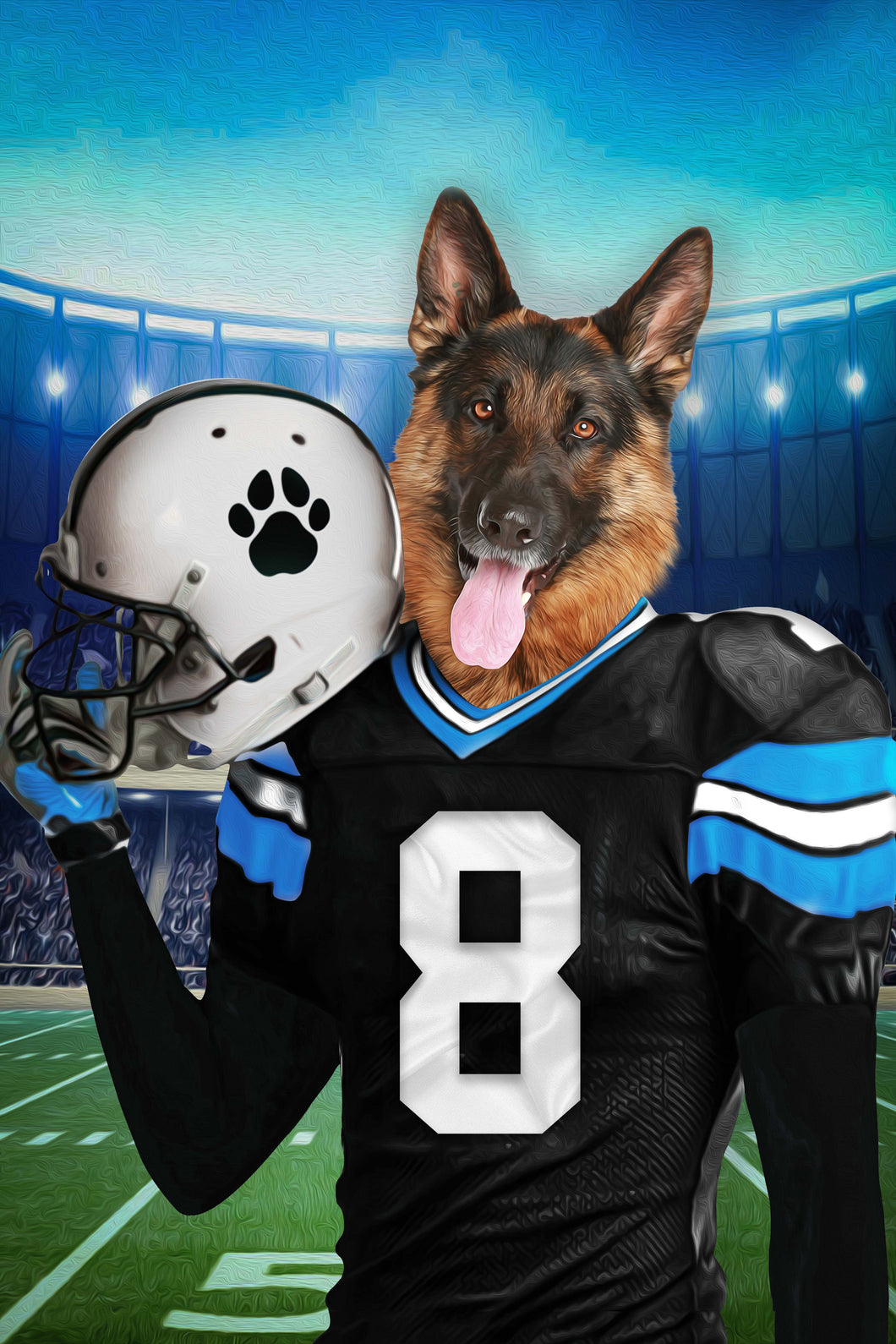 The Carolina Fan Custom Digital Download Pet Portrait - Noble Pawtrait