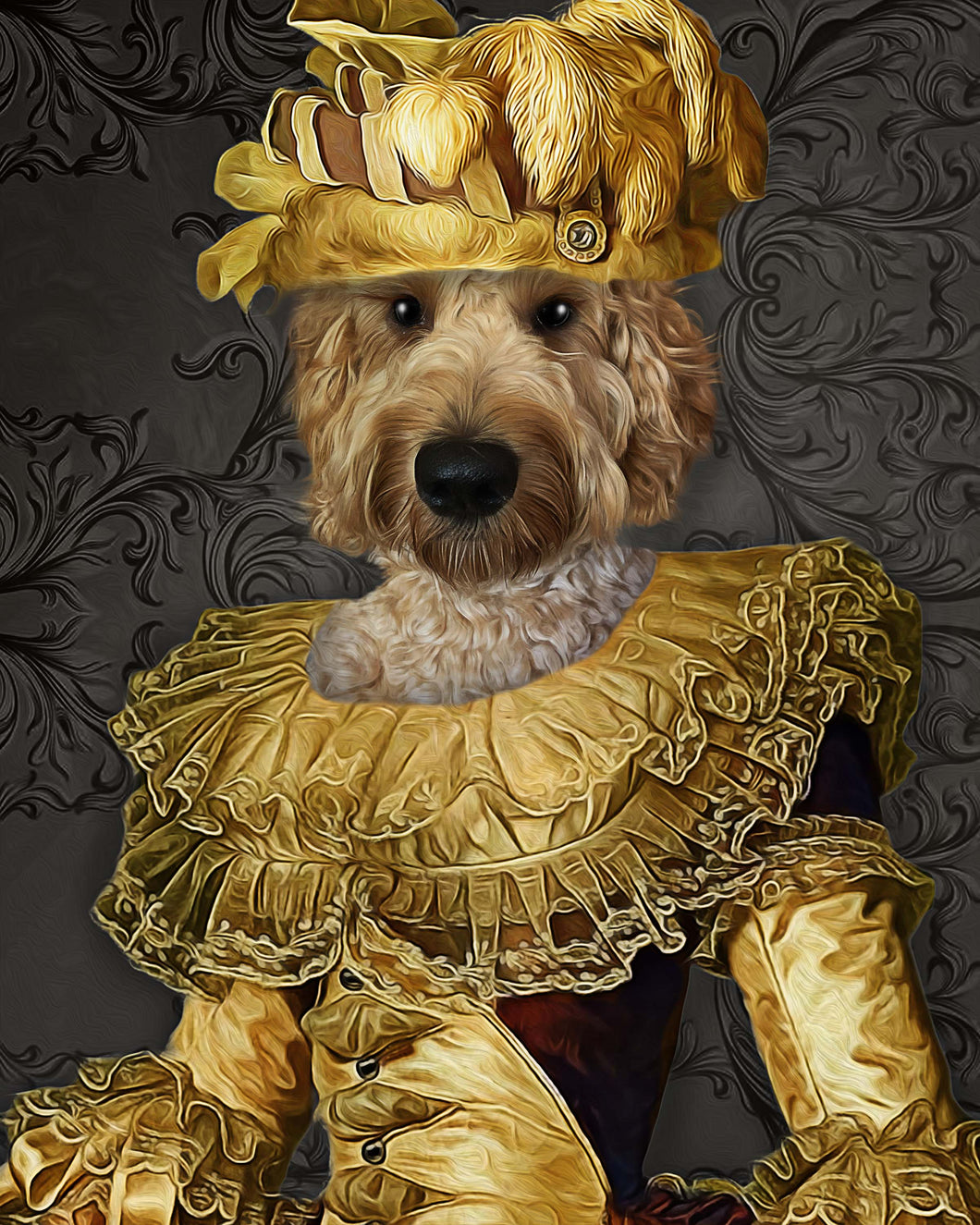 The Charming Queen Custom Pet Portrait - Noble Pawtrait